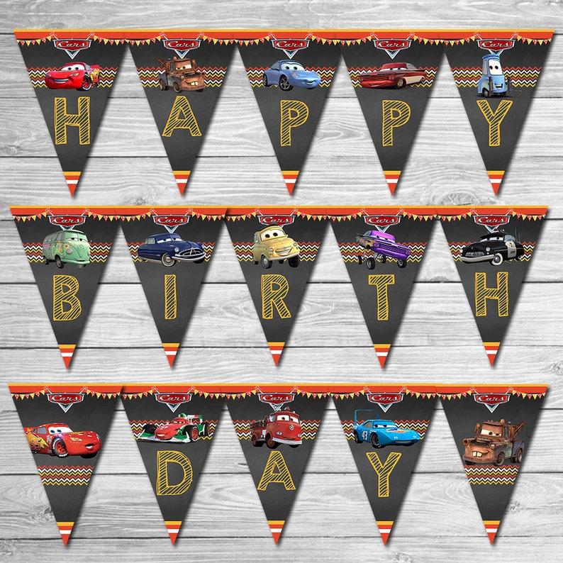 Disney Cars Birthday Banner Chalkboard Lightning Mcqueen Etsy