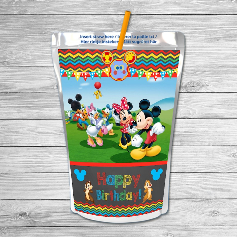 Mickey Mouse Clubhouse Capri Sun Labels Chalkboard