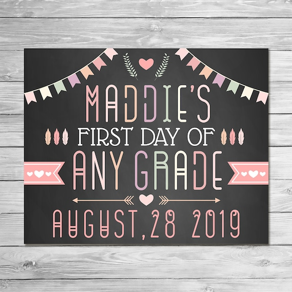 First Day of School Sign 2019 ANY GRADE Printable Photo Prop - Chalkboard School Sign Back to School - Feather Arrows Boho -1008