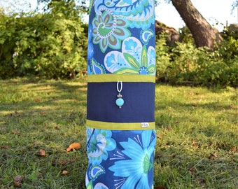 Blue Florals- Handcrafted One of a kind Yoga Mat bag