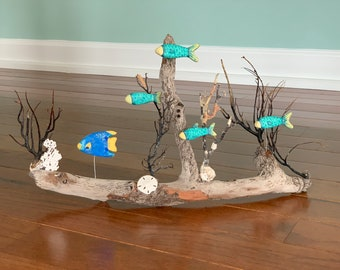Tropical Fish and Wood Sculpture/Art