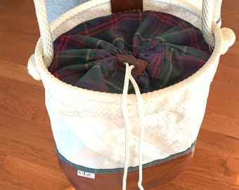 Recycled Sail and Leather Bucket bag