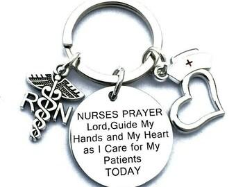 Nurses Prayer Stethoscope Cap Hat Heart Keychain Keyring in a Velvet Gift Bag Graduate Graduation Thank You NHS Nursing Hospital