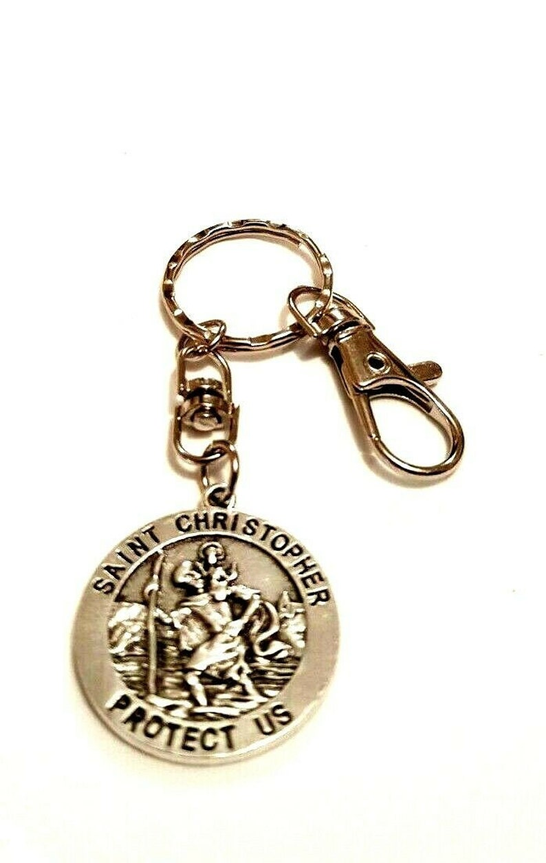 30mm Double Sided Swivel St Christopher Keyring on a Lobster Clasp Keychain Bon Voyage Travel Gift Bag Charm Travellers Protection Gift Bag