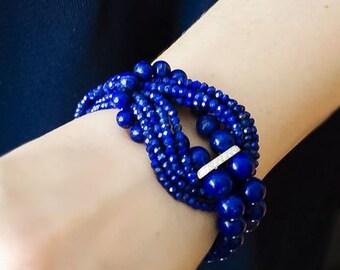 "Bracelet lapis lazuli and sterling silver 925 "" Ultramarine"""