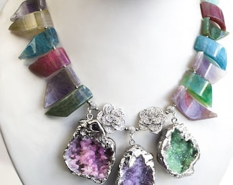 """Agate necklace with druses """"INSPIRATION"""""""