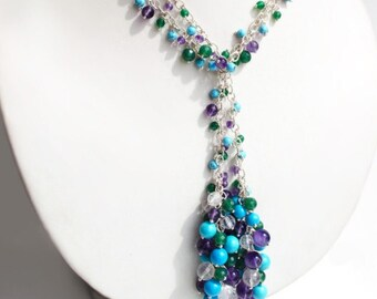 Necklace sautoir with silver, amethyst, turquoise, chrysoprase BLOSSOMING