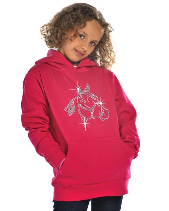 Personalised Rearing Horse Rhinestone Diamante Embellished Hoodie Gift for Girls
