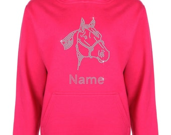 Personalised Horse Face Rhinestone / Diamanté embellished Children's Hoodie - Unisex style - Beautiful pullover for animal loving Kids