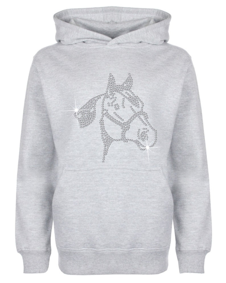 Great gift Unisex style Horse Face Rhinestone  Diamant\u00e9 embellished Children/'s Hoodie Beautiful pullover for animal loving kids