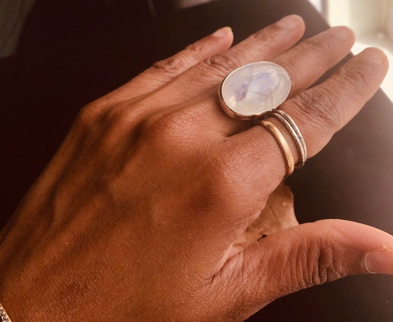 Moonstone Ring Rainbow Moonstone Ring 27 mm long Oval Moonstone Ring 925 Sterling Silver size 8.5 Statement Ring Big Moonstone Ring