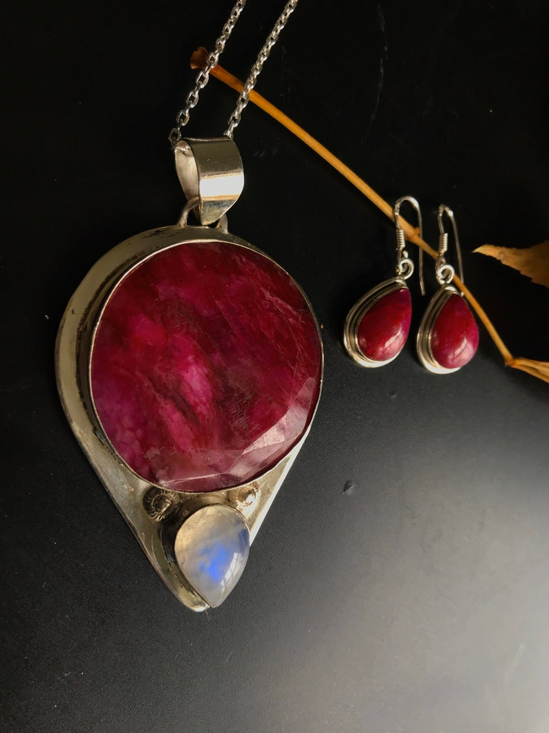 Ruby earrings sterling silver small teardrops red Ruby july birthstone Jewelry tiny earring necklace set Christmas gift for her wife fianc\u00e9e