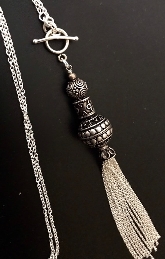 Silver Necklace Balinese Silver Necklace 925 Silver Tassel Necklace Artisan Silver Statement Necklace Trinity  Silver Everyday Necklace