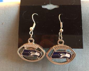 Seattle Seahawk Logo Charm Earrings,Seahawks Jewelry,Seahawk Game Day