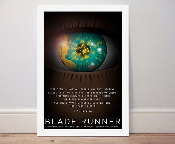 BLADE RUNNER POSTER Rutger Hauer /'Tears in Rain/' Wall Art Print Photo A3 A4