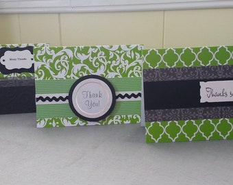 3 Thank You Cards Green and Black