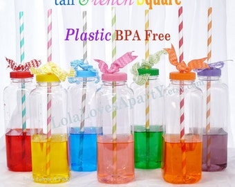 French Square 12  Plastic BPA FREE Bottles  (12 oz) Clear Drink Bottles, Lids  Party / Crafts/ School/ Cruise/ Kids cup