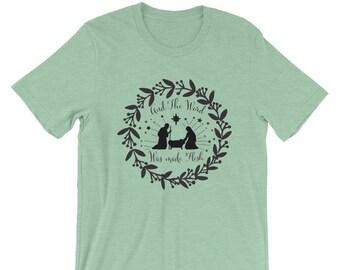 Christmas Short-Sleeve Unisex T-Shirt| Nativity Laurel | Holy Family Shirt| Christian Apparel| Christmas| Christmas Tee
