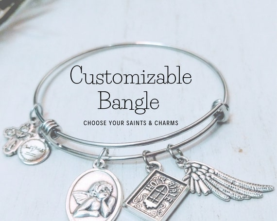 Custom Saint & Charm Bangle| Custom Catholic Bangle| Animal Charms| Earthy charms| Religious Charms| Personalized Gift| Catholic Bangle