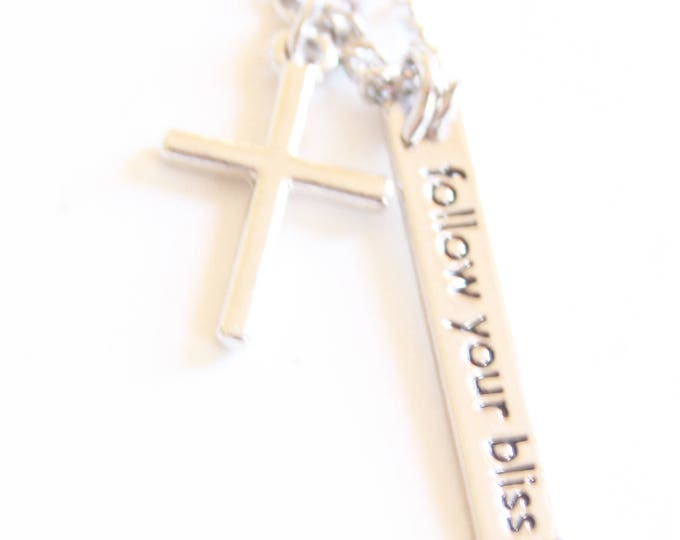 follow your bliss| Necklace| Cross| Silver Chain 24 inches| Stamped Metal| Handmade Chain| Christian Jewelry| Positive Affirmation
