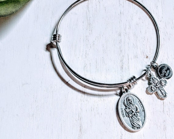 Saint Cecilia| Patron of Musicians| Saint Agnes| Patron of Young girls and Chastity|Catholic Bracelets| Catholic Jewelry| Catholic Bangle