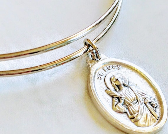 Saint Lucy| Bangle| | Patron Saint of the blind| Confirmation gift| wire bracelets| Catholic Bracelets| Catholic Jewelry| Catholic Bangle