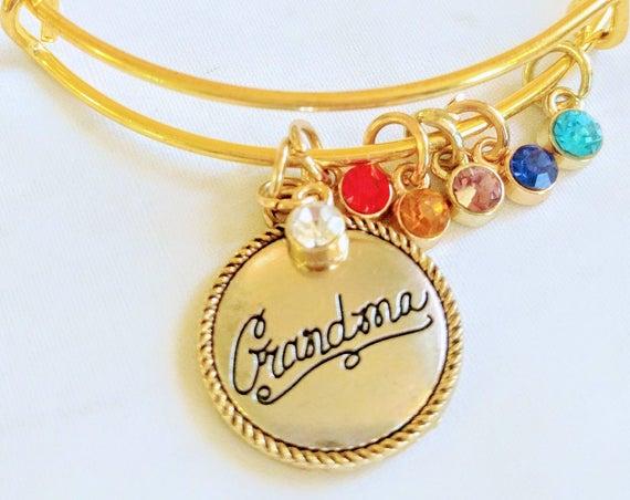 Silver Bangle Bracelet|Gold Bangle Bracelet| Grandma Custom Birthstone|Charm Bracelet|Mother's Day Gift|New  Grandma Bracelet| Grandma Gift|