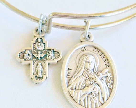 Saint Therese Bangle| Patron Saint of Missions| Confirmation gift| wire bracelets| Catholic Bracelets| Catholic Jewelry| Catholic Bangle|