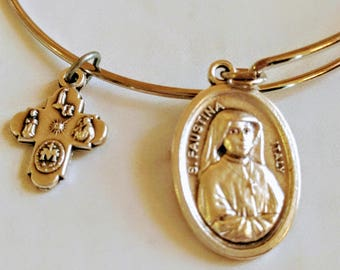 Saint Faustina Bangle|Divine Mercy|Confirmation gift| wire bracelets| Catholic Bracelets| Catholic Jewelry| Catholic Bangle