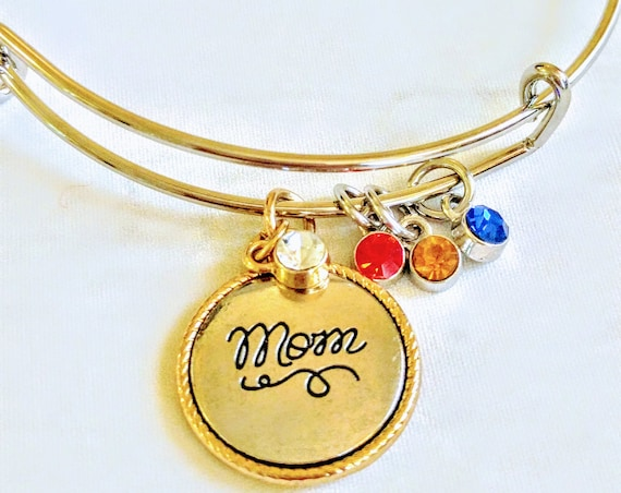 Silver Bangle Bracelet|Gold Bangle Bracelet| Mother Custom Birthstone|Charm Bracelet|Mother's Day Gift|New Mother Bracelet| Mom Gift|