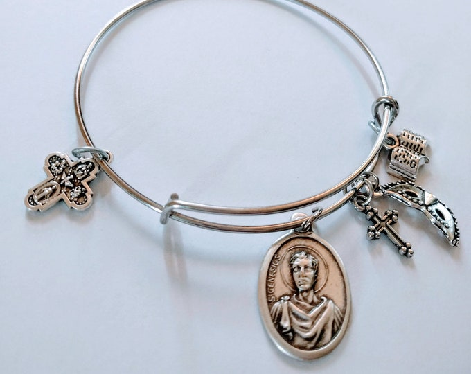 Saint Genesis Bangle|Patron of Theater|Catholic Bangle| Story Book Charm|theater Mask Charm| Cross Charm| Four way Medal| Catholic Gift