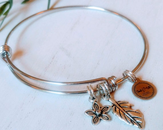 The I am The Vine Flower and Leaf Bangle   Flower and Leaf Stainless Steel Bangle  Gardening Gift  Christian Gift} John Chapter 15  Gift