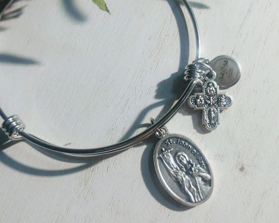 Saint Joan Of Arc Bangle| Patron Saint of France | Confirmation gift| Catholic Bracelets| Catholic Jewelry| Catholic Bangle|Soldier Gift