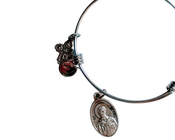Saint Blaise Medal| Stainless Steel  Bangle| Gift| Catholic Gift| Patron of sufferers from throat diseases and of wool combers| Catholic