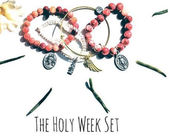 The Holy Week Bead and Bangle Set| Custom Saint Beaded Bangle| Guardian Angel and Custom  Birthstones| Custom Easter Gifts| Easter Basket|