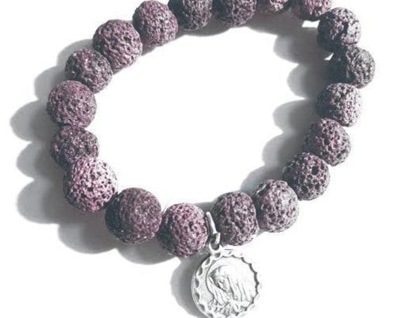 Our Lady of Sorrows Purple Lava Beaded Charm Bracelet| Catholic Gift| Essential Oil Bracelet| Aromatherapy bracelet| Essential Oil Bracelet|