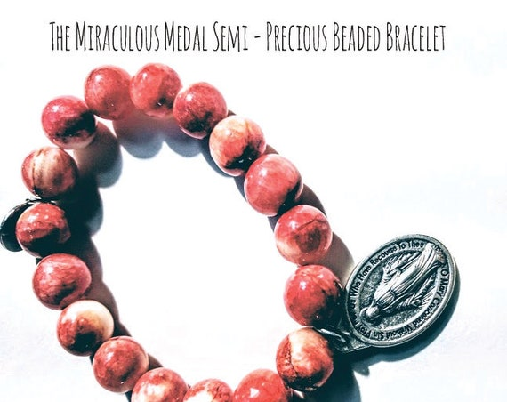Red Agate Miraculous Medal Bracelet| Semi Precious Stone|strength of sight|aid in digestion| protect against dehydration