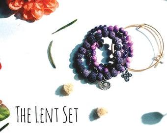 The Purple Lenten Bracelet Set| Beaded Bangle Set| Custom Beaded Bracelet| Custom Birthstone| Custom Bracelet| Easter Gift| Easter Basket