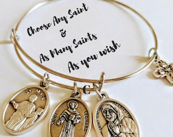 Custom Saint Bangle| Saint Medal| Custom Catholic Bracelet| Confirmation Gift| Catholic Gift| Patron Saint Gift| Personalized Spiritual Gift