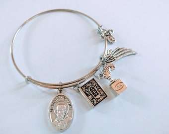 Saint Francis De Sales Bangle| Patron Saint of Writers| Writers Bangle| Catholic Gift| Author Gift| Student Gift| Christian Bangle