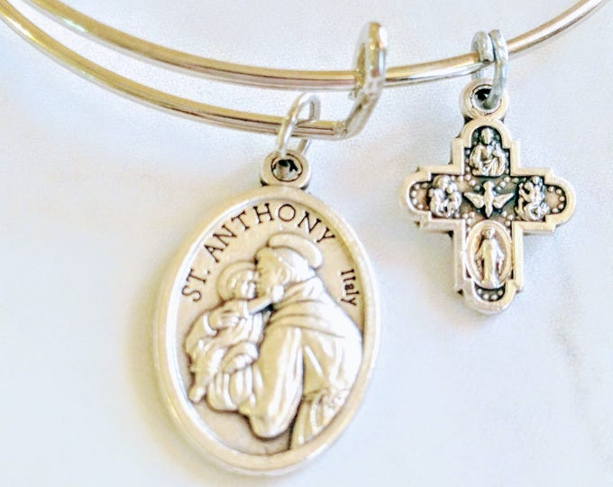 Saint Anthony Bangle| Patron Saint of lost and stolen articles| Confirmation gift| Catholic Bracelets| Catholic Jewelry| Catholic Bangle|