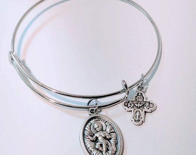 Infant Jesus Medal Bangle|Catholic gift| Christmas Gift| Christmas Bangle| Catholic Christmas| Infant Jesus Manager| Baby Jesus