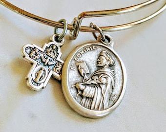 Saint Dominic Bangle| Catholic Bangle| Bracelet| Patron Saint of Astronomers| Astronomy|Innocent| wire bracelet| Dominican| Catholic gift