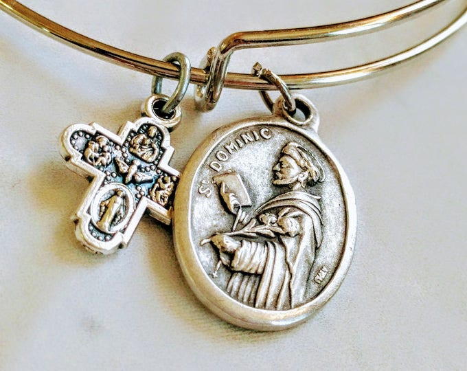 Saint Dominic Bangle| Catholic Bangle| Bracelet| Patron Saint of Astronomers| Astronomy|Innocent| wire bracelet| Dominican| Catholic gift