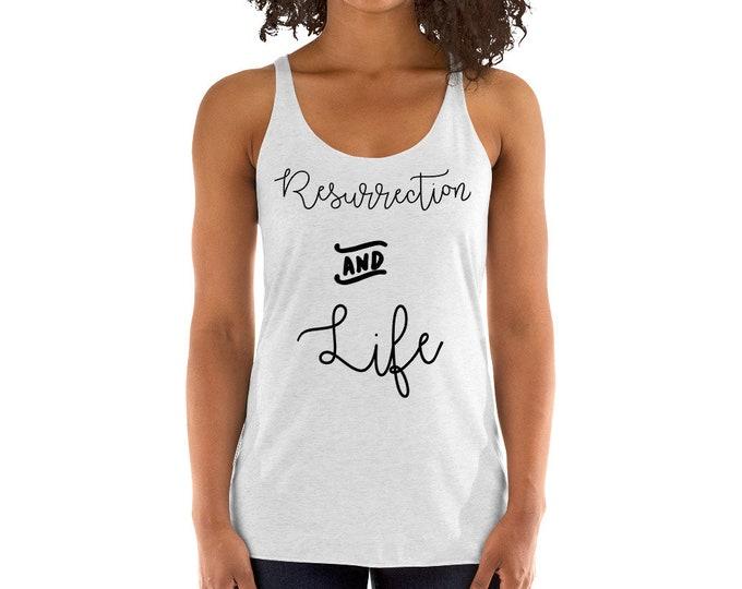The Resurrection and Life Women's Racerback Tank| Saint John  Chrysostom Quote Tank| Catholic Easter Gift| Easter Basket Gift