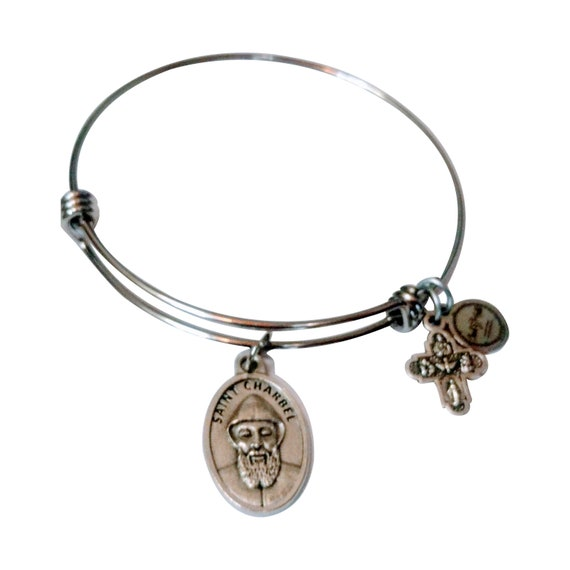 Saint Charbel Bangle  Saint Medal   Priest  Mystic  Miracle worker  Lebanon   Catholic Gift   Catholic Jewelry  Modern Saint  Saint Bangle