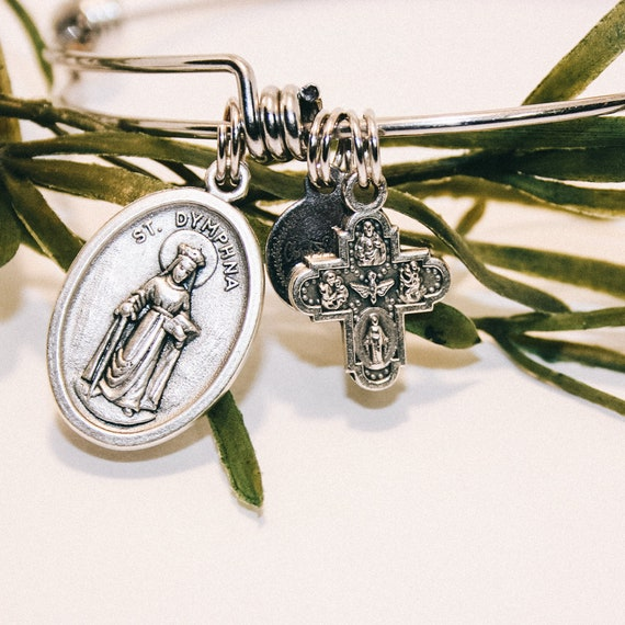 St. Dymphna Bangle|  Patroness of neurological disorders|psychologists| psychiatrists| neurologists| Wire Stainless Steal Bangle