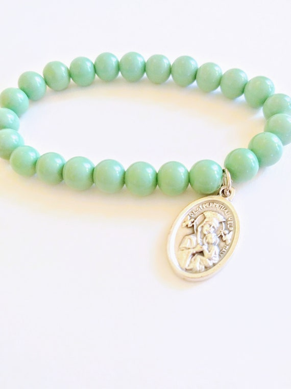 Saint Gerard Bead Bracelet| Turquoise Glass Beads| Patron Saint of Pregnancy| Conception| Safe Child Birth| Young Children| Unborn| Mom Gift