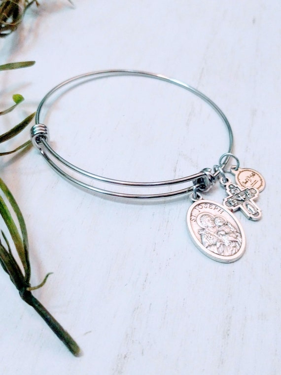 Saint Joseph Bangle|| Patron Saint of Families, Fathers, laborers , travelers| Catholic Bracelets| Catholic Jewelry| Catholic Bangle|