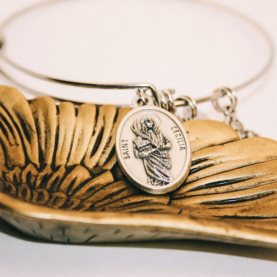 Saint Cecilia| Patron of Musicians| Saint Agnes| Patron of Young girls and Chastity|Catholic Bracelets| Wire Stainless Steel Bangle| Gift